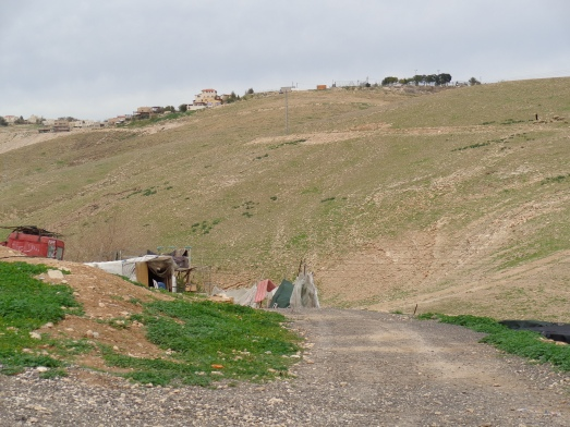 K'far Adummim settlement, located on a hilltop and encroaching upon the grazing land of Bedouin village Khan al Ahmar.