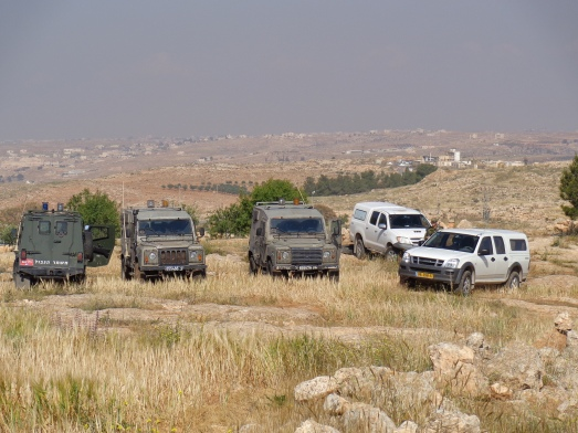 Army vehicles gathered near olive grove demolition site, Susiya, South Hebron Hills.