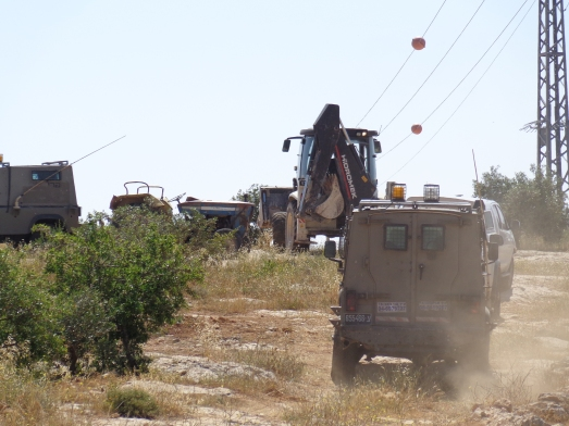 Bulldozer and army jeeps leaving the olive grove.
