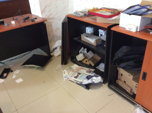 one of several cabinets vandalized in the raid
